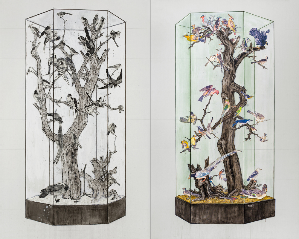 Yi Youyu 倪有鱼, Specimen Cabinet of Imperial Art Academy I and II 画院碑, 2012, Mixed media on canvas 布面综合材料, 320 x 200 cm x 2