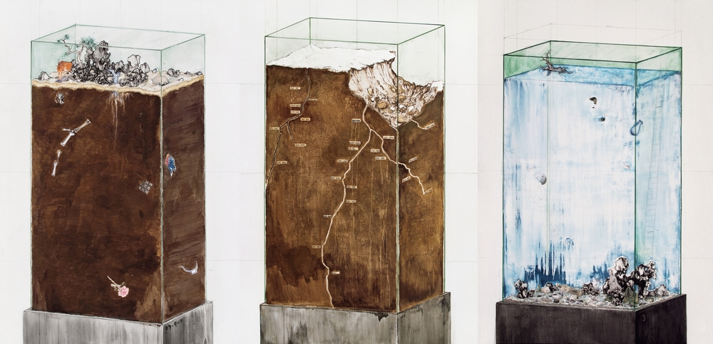 Ni Youyu 倪有鱼, Transparent Monument I,II and III 透明碑 , 2009-10, Mixed media on canvas 布面综合材料, 220 x 150 cm x 2