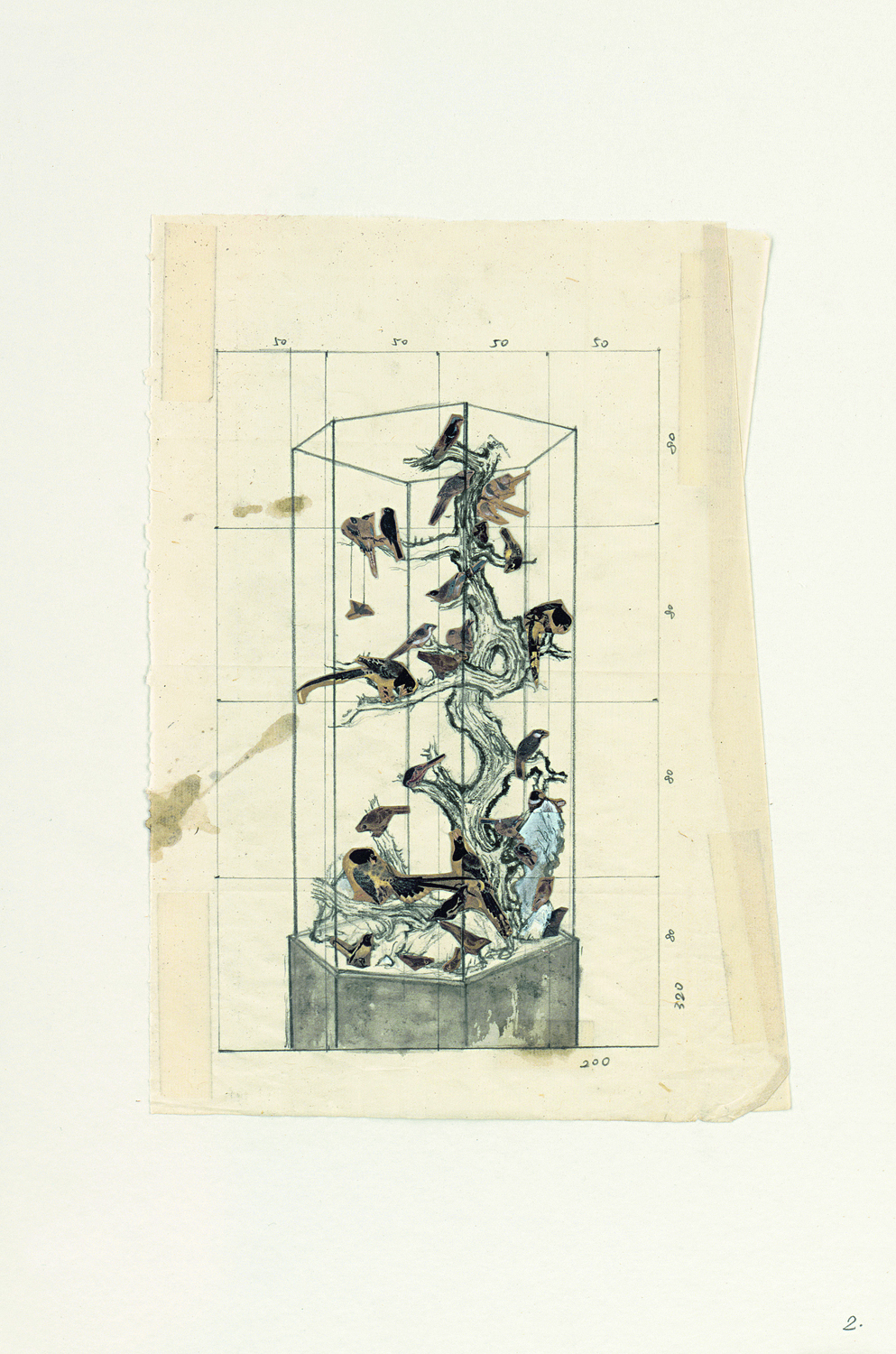 Ni Youyu 倪有鱼, Specimen Cabinet of Imperial Art Academy (sketch) 画院碑 (草稿), 2011, Mixed media on paper 纸本综合材料, 31 x 20.5 cm