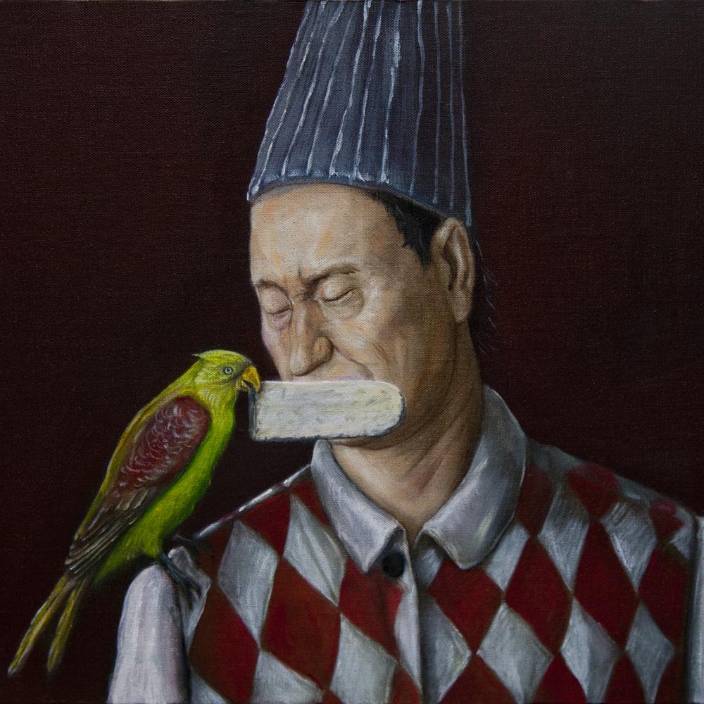 Wu Junyong 吴俊勇, A Parrot's Stela 鹦鹉的石碑, 2010, Oil on canvas 布面油画, 40 x 40 cm