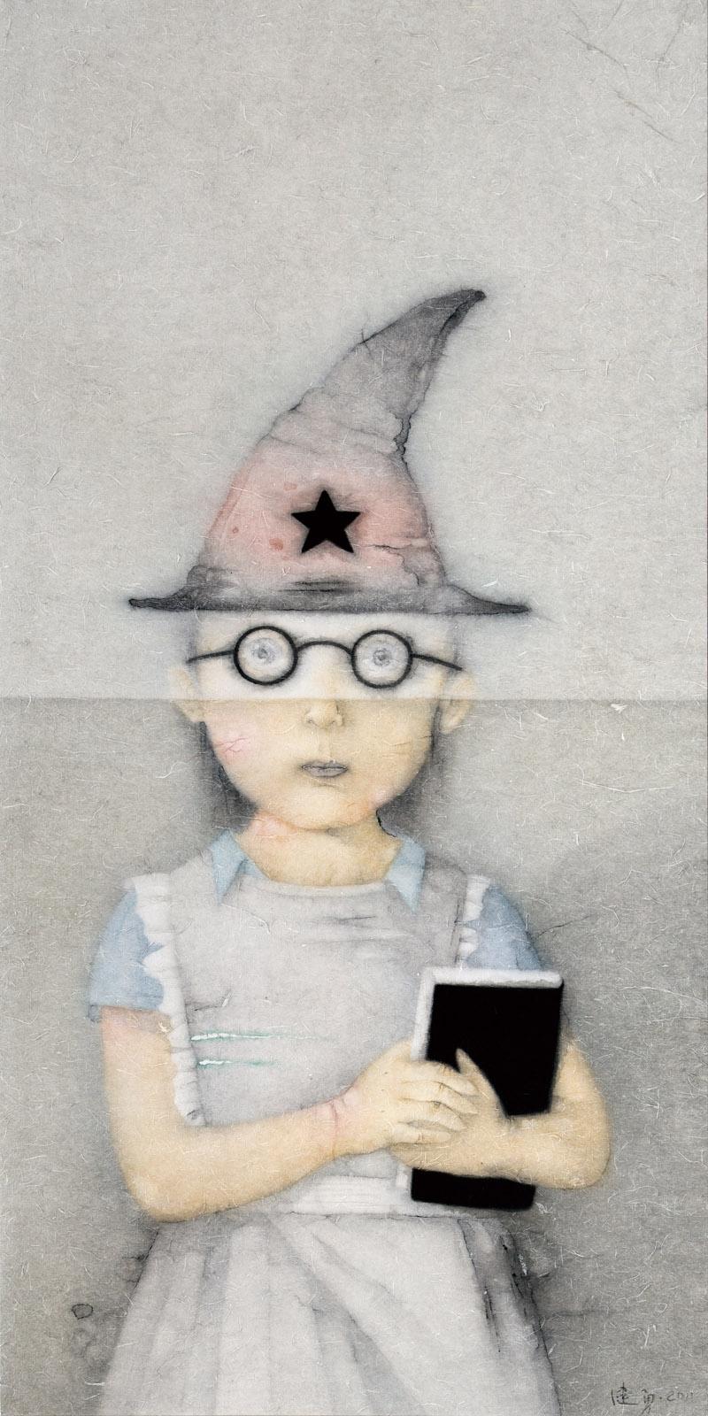 Zeng Jianyong 曾健勇, Cosplay - Enchanter 头号人物 - 魔法师, 2011, Ink and color on paper 纸本设色, 144 x 72 cm