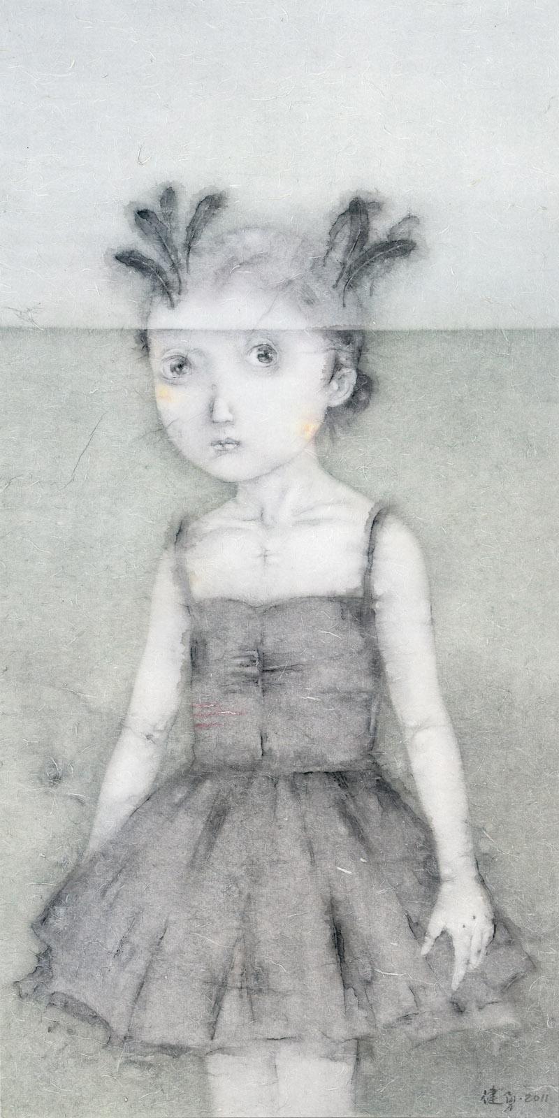Zeng Jianyong 曾健勇, Cosplay - Black Swan 头号人物 - 黑天鹅, 2011, Ink and color on paper 纸本设色, 144 x 72 cm