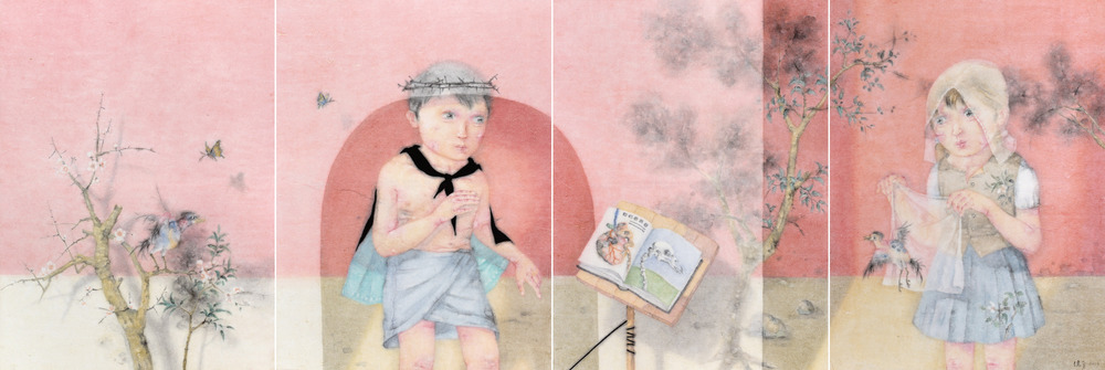 Zeng Jianyong 曾健勇, Evidences of Darwin 达尔文的证据, 2013, Ink and color on paper 纸本设色, 128 x 95 cm x 4