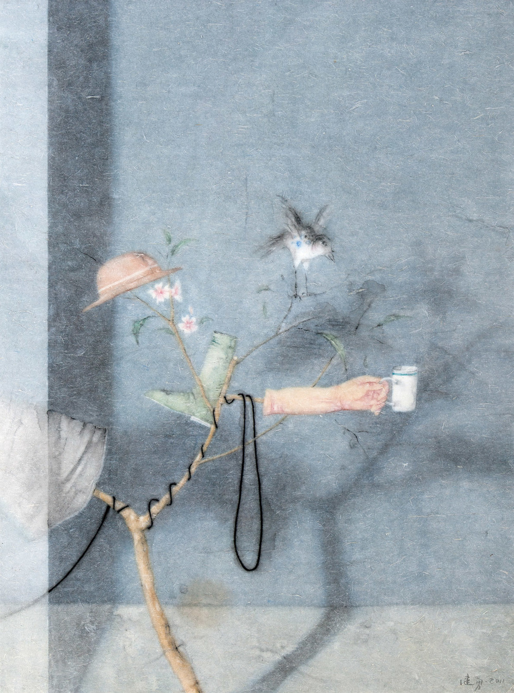 Zeng Jianyong 曾健勇, On The Tree No.1 还上枝头之一, 2012, Ink and color on paper 纸本设色, 128 x 95 cm