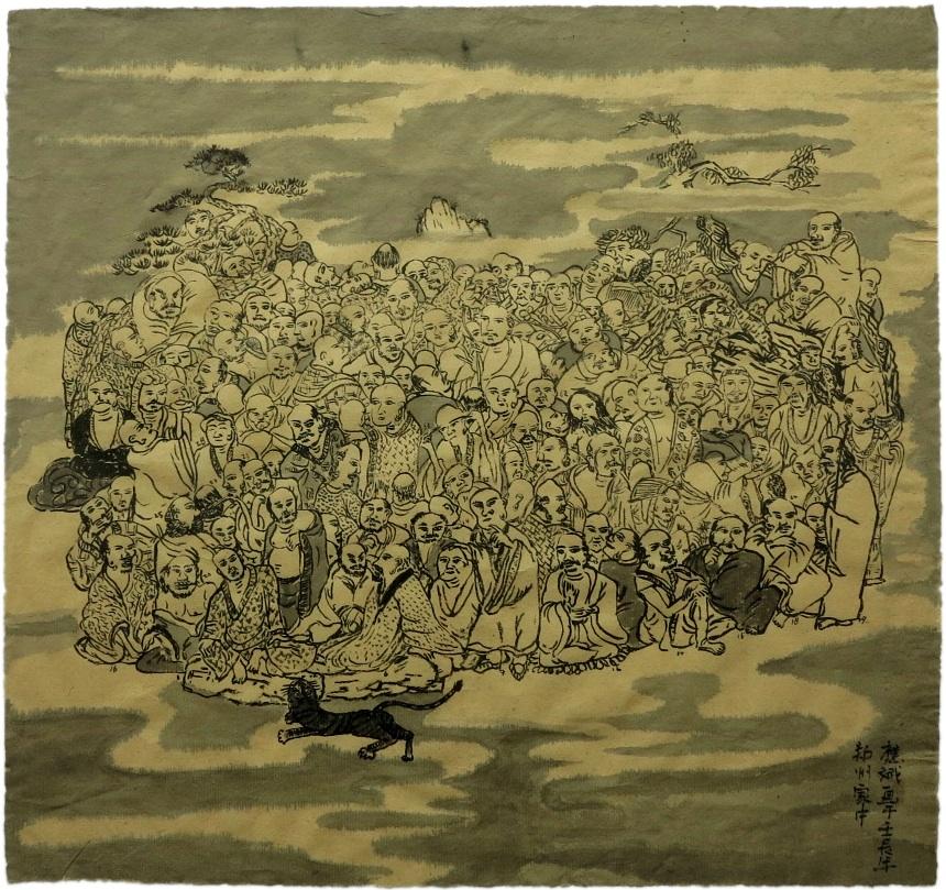 Cao Yingbin 曹应斌, Arhats 罗汉, 2012, Ink on paper 纸上墨色, 41 x 43 cm