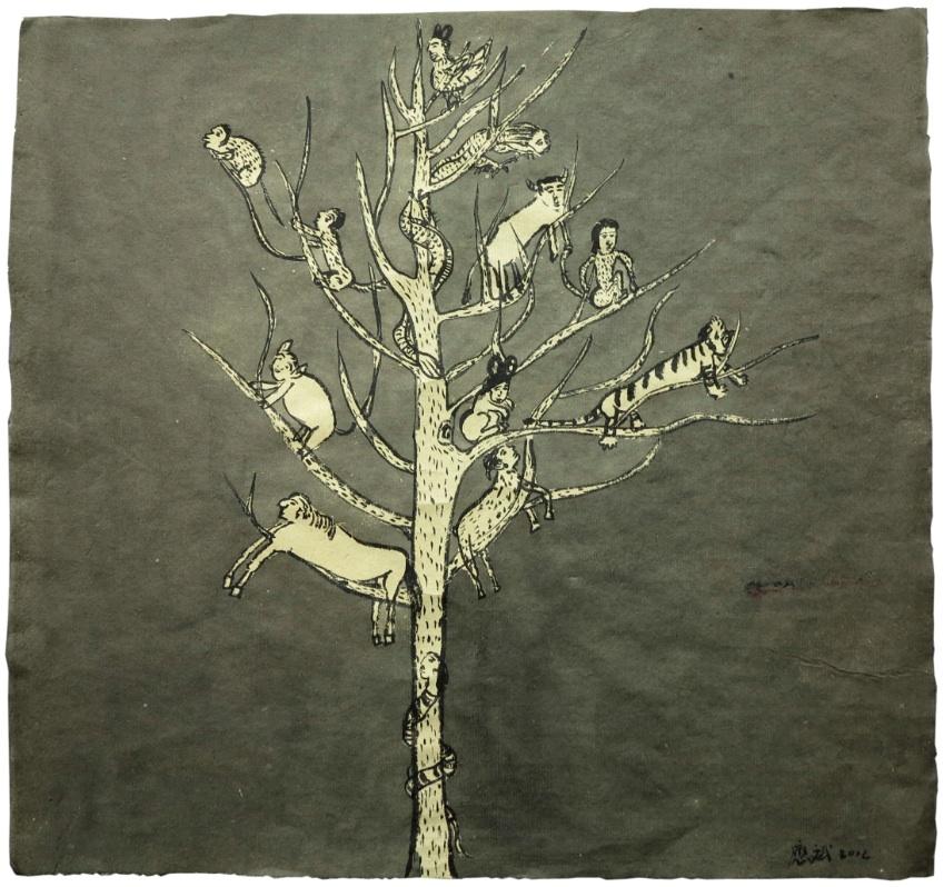 Cao Yingbin 曹应斌, Tree 树, 2012, Ink on paper 纸上墨色, 41 x 43 cm