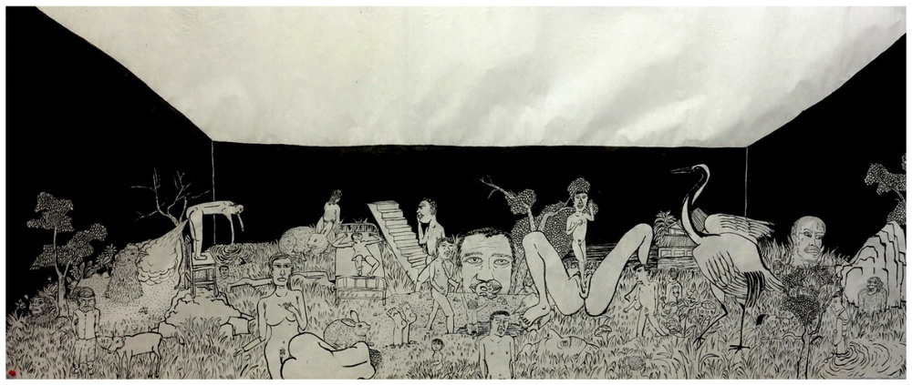 Cao Yingbin 曹应斌, Strange World No.3 异世界三, 2012, Ink on paper 纸上墨色, 79 x 192 cm