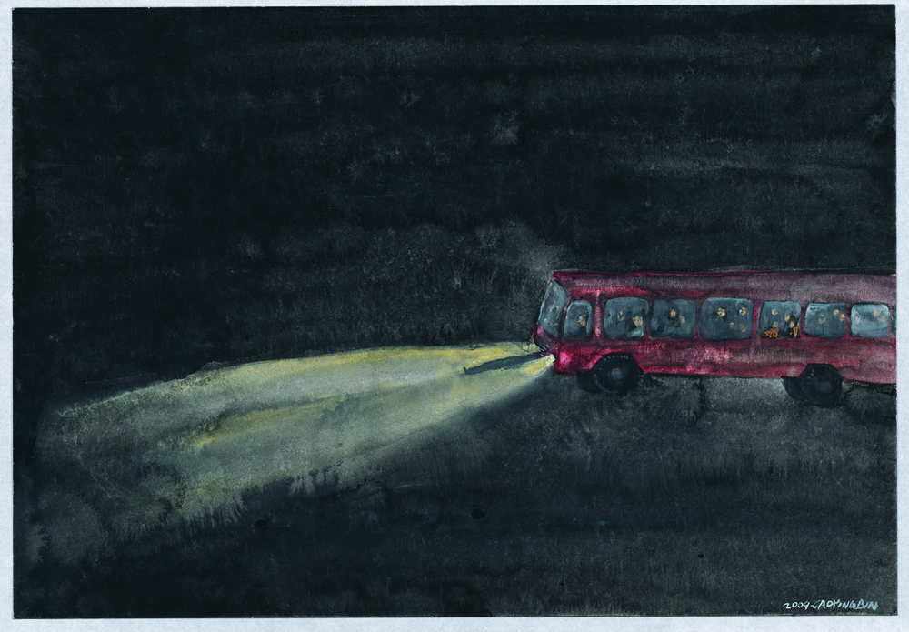 Cao Yingbin 曹应斌, Bus No.26 26路公共汽车, 2009, Watercolor on Paper 纸上水彩, 27 x 39 cm