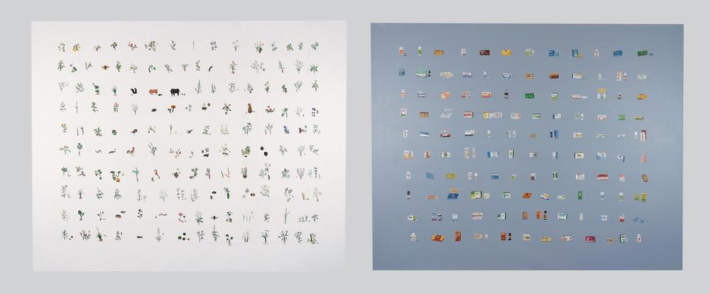 Cao Yingbin 曹应斌, Herbs and Medicines 草和药, 2008, Acrylic on canvas 布面丙烯, 175 x 220 cm x 2