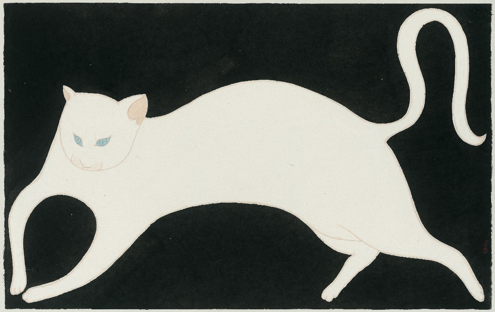 Liu Qi 刘琦, A Walking Cat 行进中的猫, Ink and color on paper 纸本设色, 62 x 97 cm