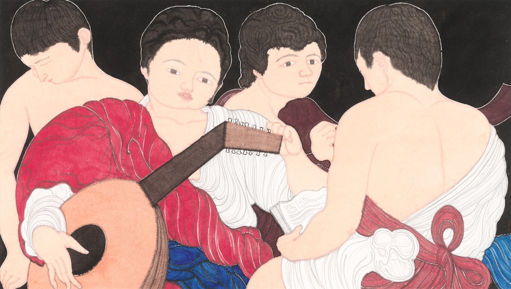 Liu Qi 刘琦, Attribute to Caravaggio 致卡拉瓦乔, 2012, Ink and color on paper 纸本墨彩, 97 x 180 cm. jpg