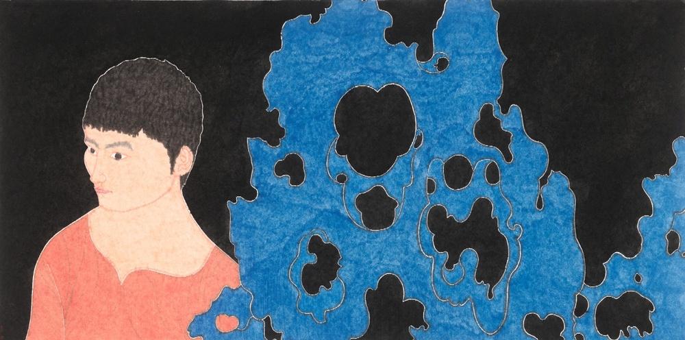 Liu Qi 刘琦, Scholar Stone and a Boy 湖石与男孩,  2012, Ink and color on paper 纸本墨彩, 97 x 180 cm
