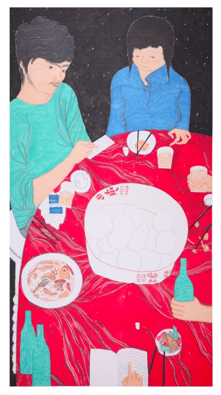 Liu Qi 刘琦, The Many Ways to Eat a Steam Bun 关于馒头的N种吃法, 2011, Ink and color on paper 纸本水墨, 180 x 97 cm