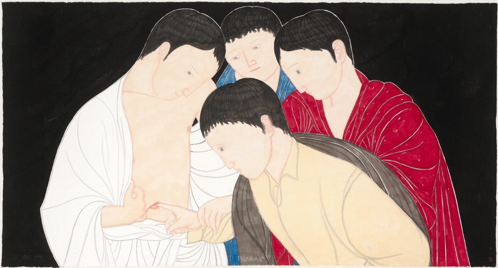 Liu Qi 刘琦, The Confusion of Collective Unconciousness 集体无意识的困惑, 2013, Ink and color on paper 纸本墨彩, 97 x 180 cm