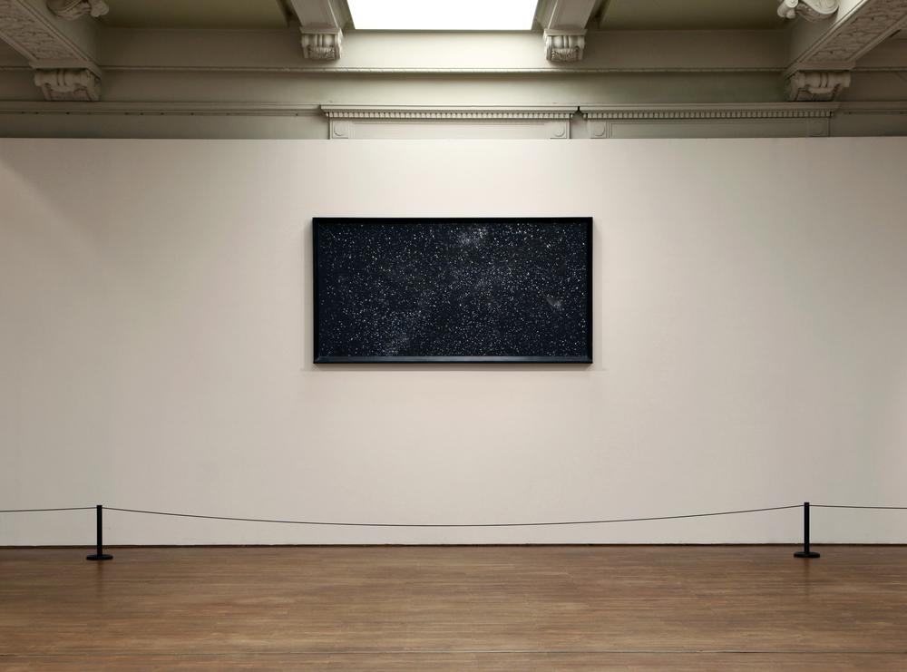 "Ni Youyu 倪有鱼, Dust 尘埃, 2012, Black and chalk 黑板和粉笔, 132 x 249 cm (Installation view at Ni Youyu Solo Exhibition ""Brief History"" 上海美术馆倪有鱼个展""简史""展览现场)"