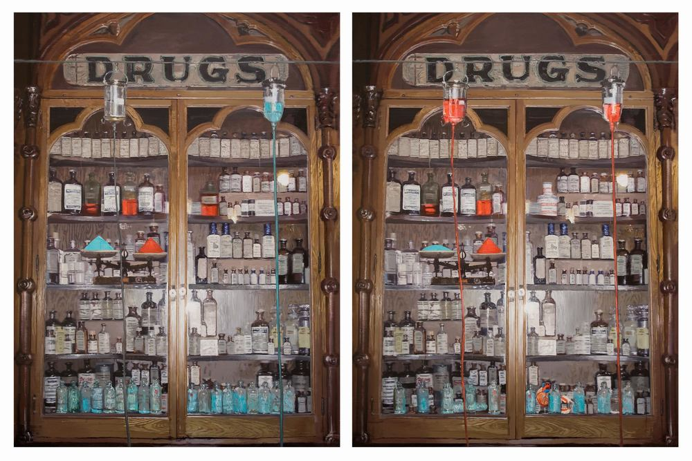 Li Qing 李青, Finding Differences · Medicine Cabinet (There are 14 differences in the two paintings) 大家来找碴 · 药柜 (两图有十四处不同), 2010, Oil on canvas 布面油画, 200 x 150 cm x 2