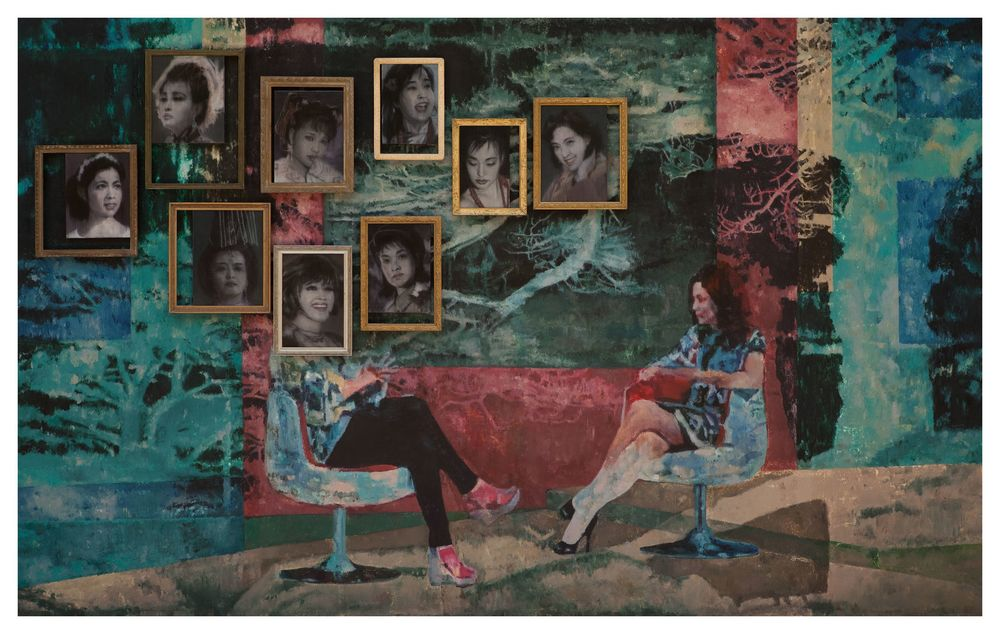 Li Qing 李青, An Interview 一次采访, 2012 - 2013,Oil on canvas, frames 布面油画、画框, 180 x 290 x 9 cm