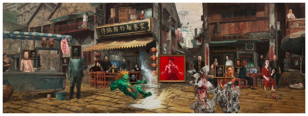 Li Qing 李青, Street Fighters - Art History Block 街头霸王之历史街区, 2013, Mixed media on canvas 布面综合材料, 255 x 699 cm