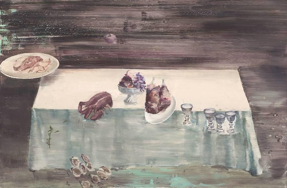 Tu Xi 涂曦, Newton's Dinner 牛顿的晚餐, 2012, Oil on canvas 布面油画, 120 x 180 cm