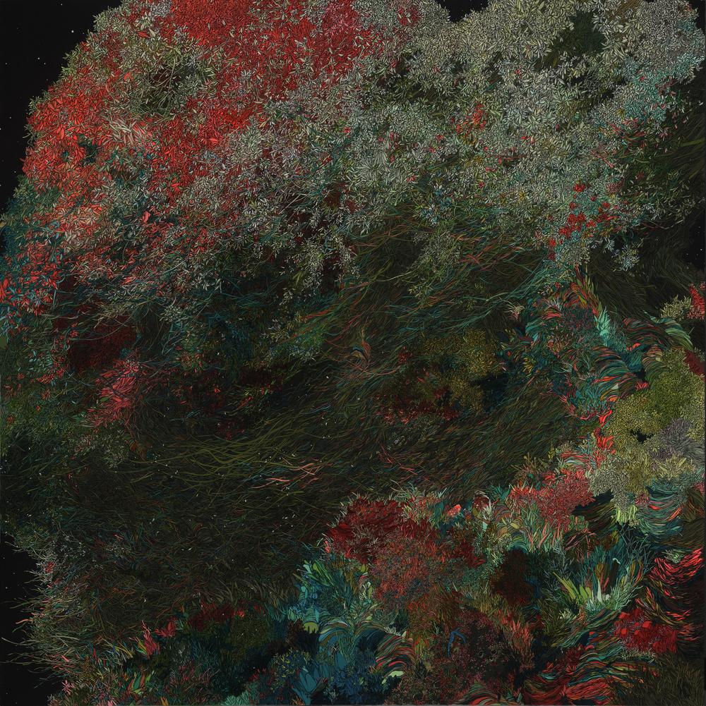 Zhou Fan 周范, A Letter to Sea Anemone 写给海葵的信, 2012- 2013, Acrylic on canvas 布面丙烯, 160 x 160 cm
