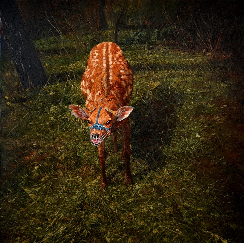 Shang Chengxiang 商成祥, Fierce Deer 凶鹿, 2013, Oil on canvas 布面油画, 180 x 180 cm