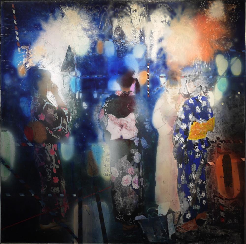 Wang Qing 王青, Fireworks 花火, 2012, Acrylic on board 木板丙烯, 162x162cm