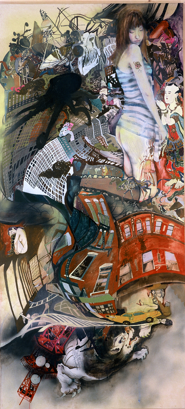 Wang Qing 王青, Daydream 白日梦, 2007, Mixed media on Japanese drafting paper and board 硫酸纸、丙烯综合材料, 180 x 83 cm