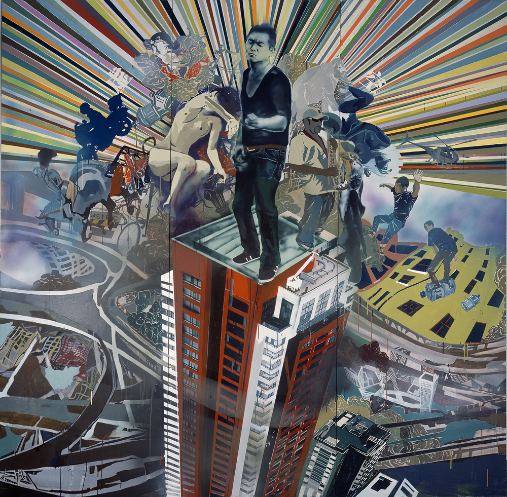 Wang Qing 王青, Urban Melody 2 都市的旋律 2, 2009, Mixed media on canvas 布面综合材料, 240 x 240 cm