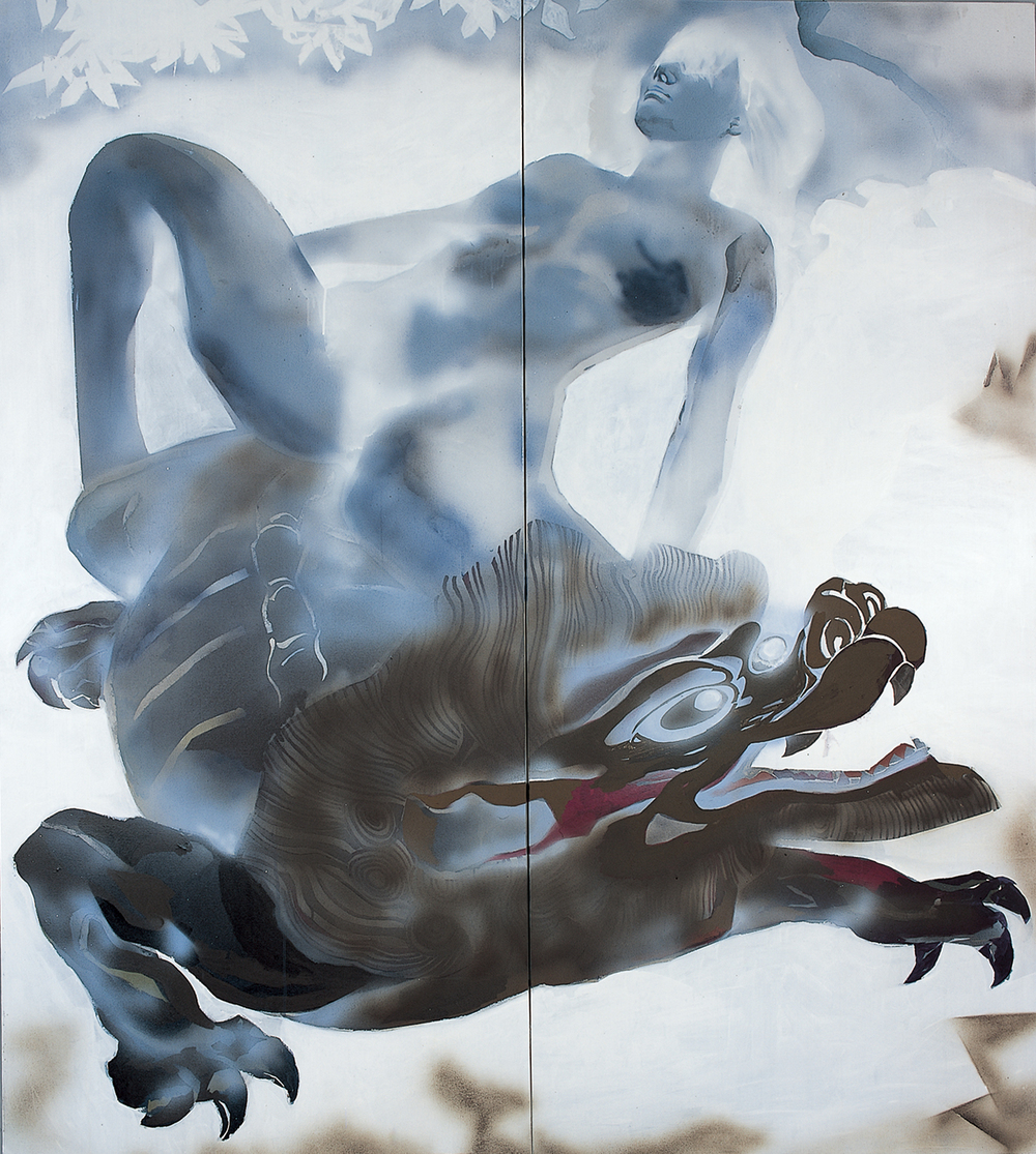 Wang Qing 王青,  Dark Dragon 恍影, 2010, Acrylic and mixed media on canvas 布面丙烯综合材料, 180 x 160 cm