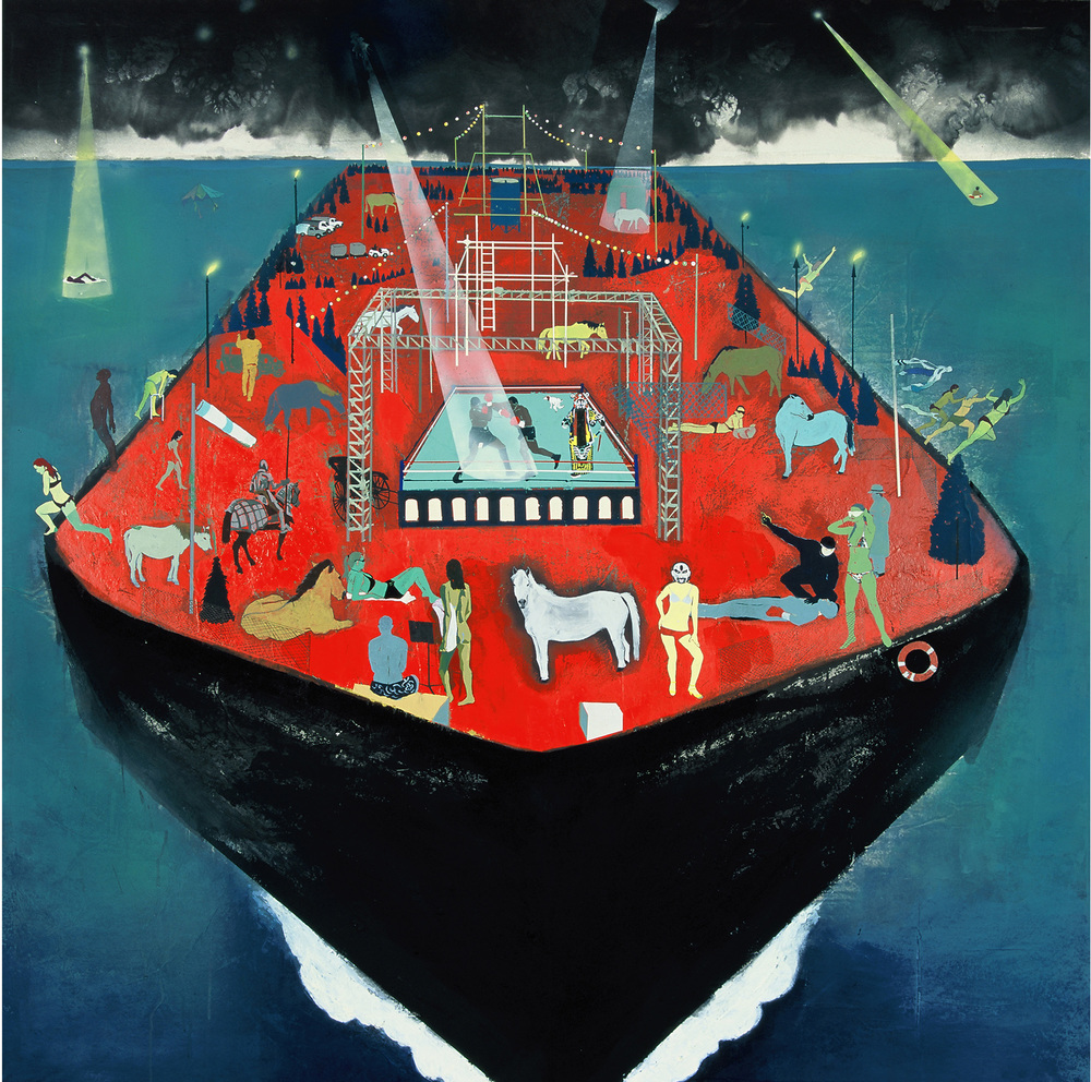Wang Qing 王青, Ship of Fools No.1 愚人船之一 , 2013, Acrylic and gouache Japanese linen paper mounted on board 日本麻纸丙烯水粉表于木板上, 162 x 162 cm