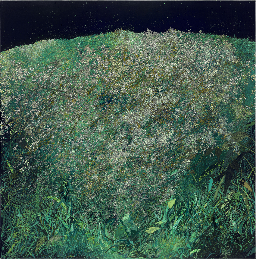 Zhou Fan 周范, You Can Hear the Sound of Cicadas at Night 在夜晚可以听到蝉的声音, 2012-2014, Acrylic on canvas 布面丙烯, 160 x 160 cm