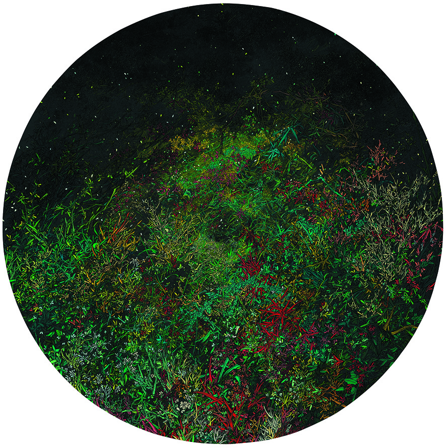 Zhou Fan 周范, Green Grass Path 绿草通道, 2011, Acrylic on canvas 布面丙烯, Dia 120 cm
