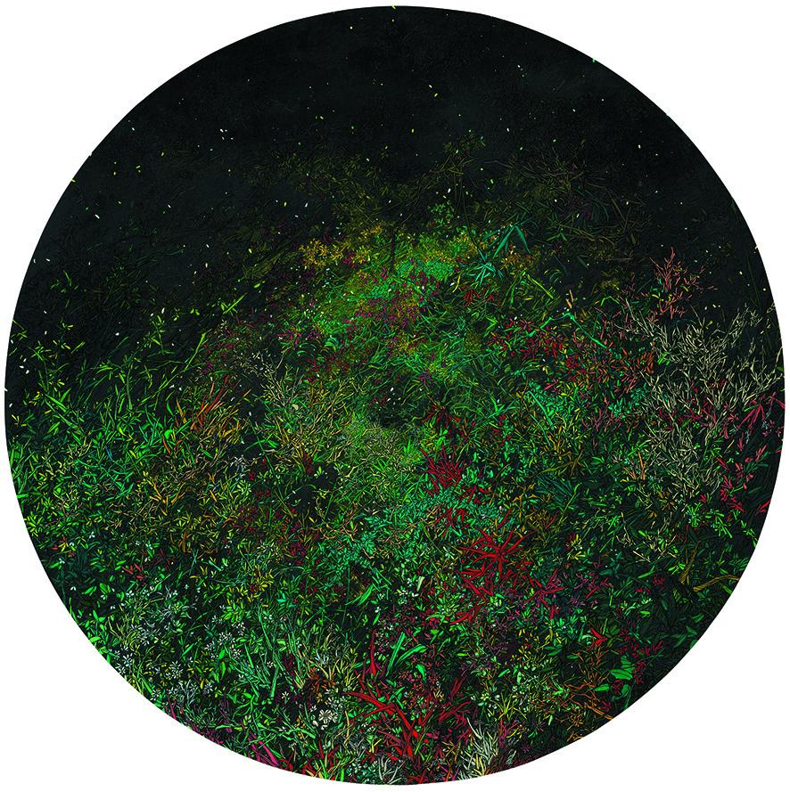 Zhou Fan 周范, Green Grass Path 绿草通道, 2011, Acrylic on canvas 布面丙烯, Dia 120 cm