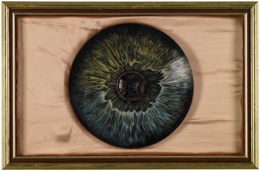 Wu Di 吴笛, Eye 眼睛, 2013, Oil on wood, presswork and silk, 47 x 75 cm