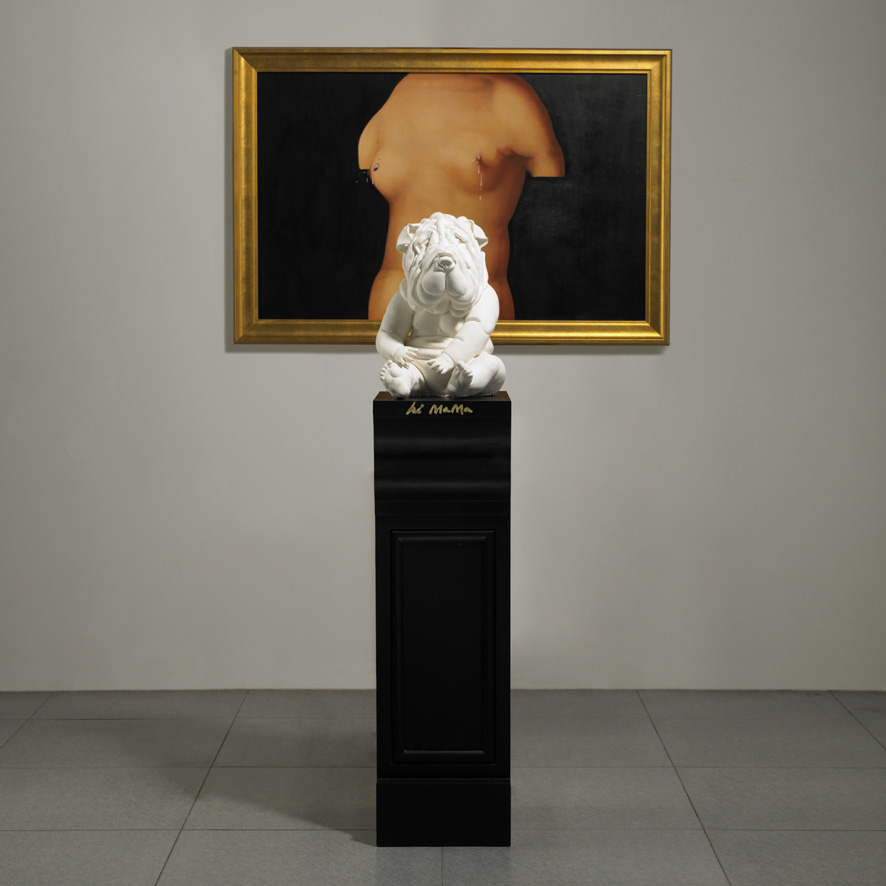 Wu Di 吴笛, Mother's Milk - hi mama 妈妈的奶, 2012, Oil on board, plaster and wood pedestal 木板油画、石膏与木头底座, 80 x 120 cm + 41 x 25 x 34 cm + 100 x 30 x 40 cm