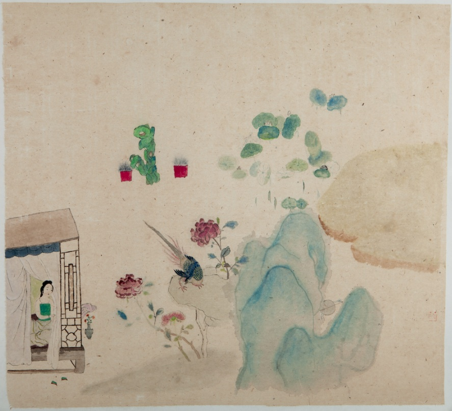 Wang Mengsha 王濛莎, Early Spring 早春, 2012, Chinese ink and color on rice paper 纸本水墨设色, 58 x 67 cm
