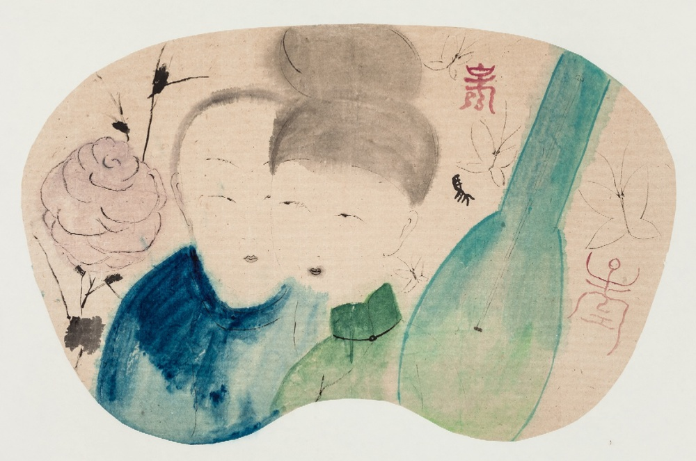 Wang Mengsha 王濛莎, Pipa 琵琶, 2014, Chinese ink and color on rice paper 纸本水墨设色, 47 x 68 cm