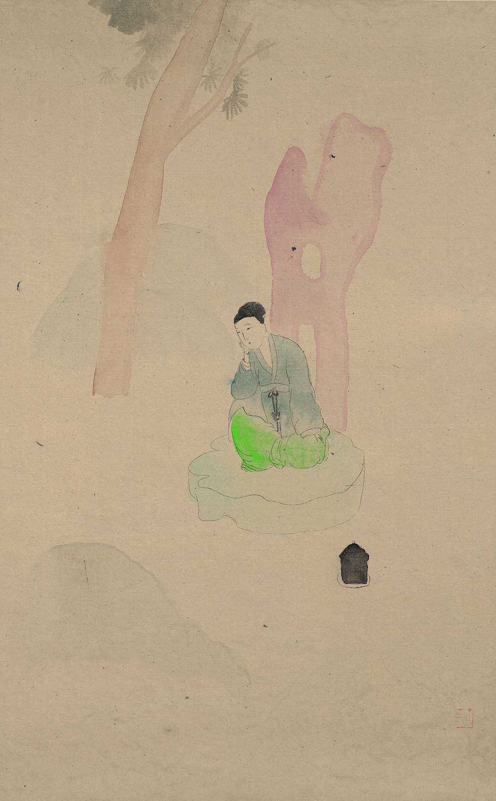 Wang Mengsha 王濛莎, Flower Mirror 花镜系列, 2010, Chinese ink and color on rice paper 纸本水墨设色, 80 x 60 cm