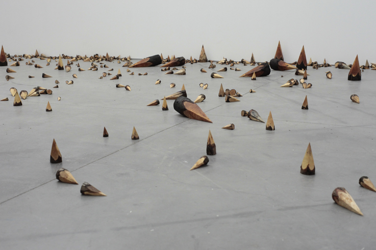 Yang Xinguang 杨心广, Sharp Point 尖头, 2011, Wood 木, Dimensions variable 尺寸可变