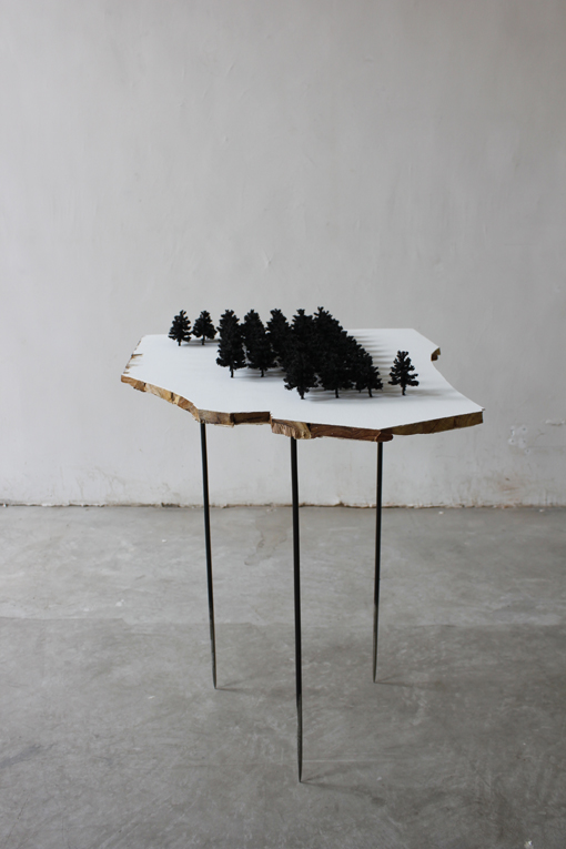 Yang Xinguang 杨心广, Forest 1 森林1, 2011, Plywood and tree models 胶合板与树模型, 240x 65 x 102 cm