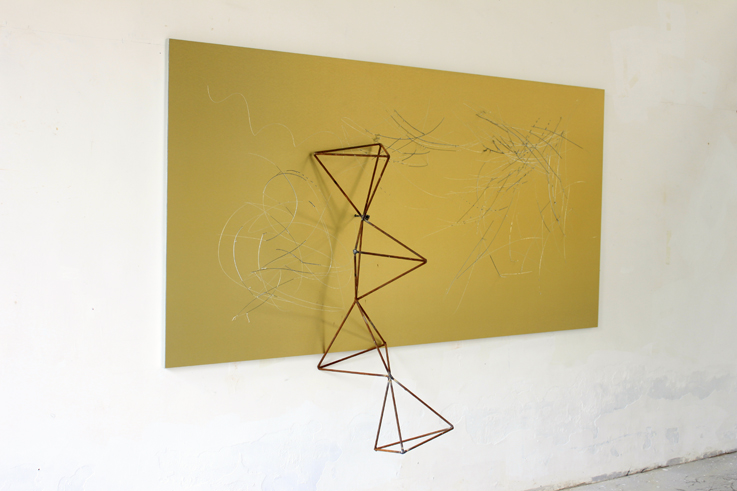 Yang Xinguang 杨心广, Golden No.9 金色9, 2014, Aluminium plastic board, iron and wood 铝塑板 、木、铁, 244 x 160 x 53 cm