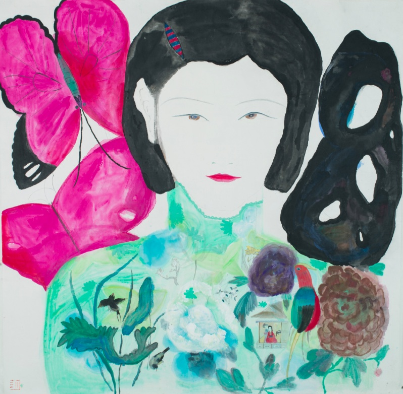 Wang Mengsha 王濛莎, Dreaming Butterfly No.1 蝶梦系列 之一, 2013, Chinese ink and color on rice paper 纸本水墨设色, 157 x 165 cm