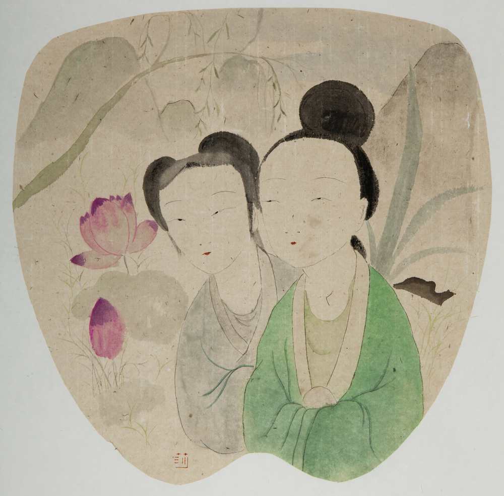 Wang Mengsha 王濛莎, Lotus Pond 荷花池, 2013, Chinese ink and color on rice paper 纸本水墨设色, 56 x 43 cm