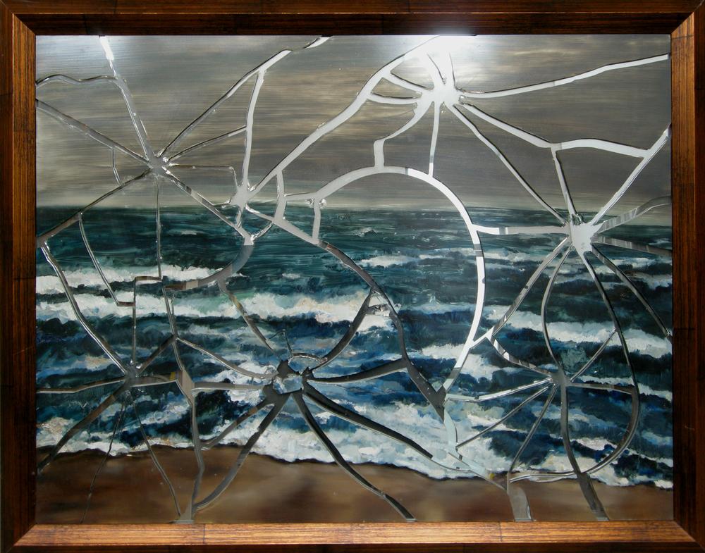 Gao Weigang 高伟刚, Seacoast No.2 海岸-2, 2008, Oil on mirror 镜面油画, 80 x 100 cm