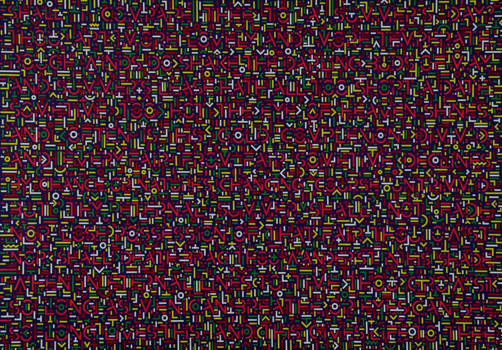 Lu Xinjian 陆新建, Invisible Poem - Sonnet XVIII 隐诗-十四行诗第18首, 2011, Acrylic on canvas 布面丙烯, 143 x 210 cm