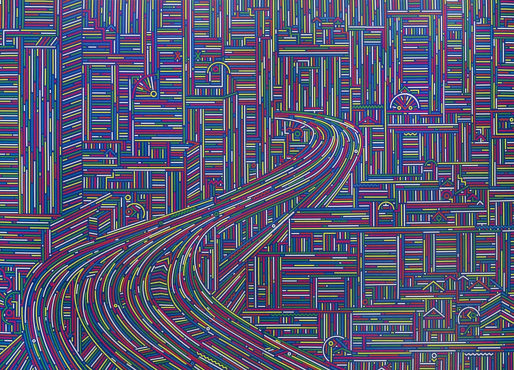 Lu Xinjian 陆新建, City Stream No.1 城市经纬 No.1, 2014, Acrylic on canvas 布面丙烯, 145 x 200 cm