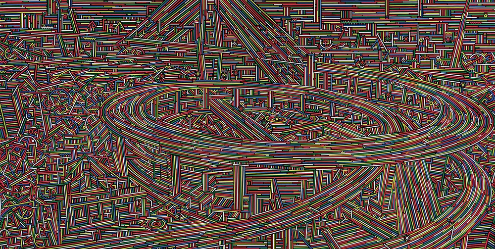 Lu Xinjian 陆新建, City Stream No.13 城市经纬 No.13, 2014, Acrylic on canvas 布面丙烯, 200 x 400 cm