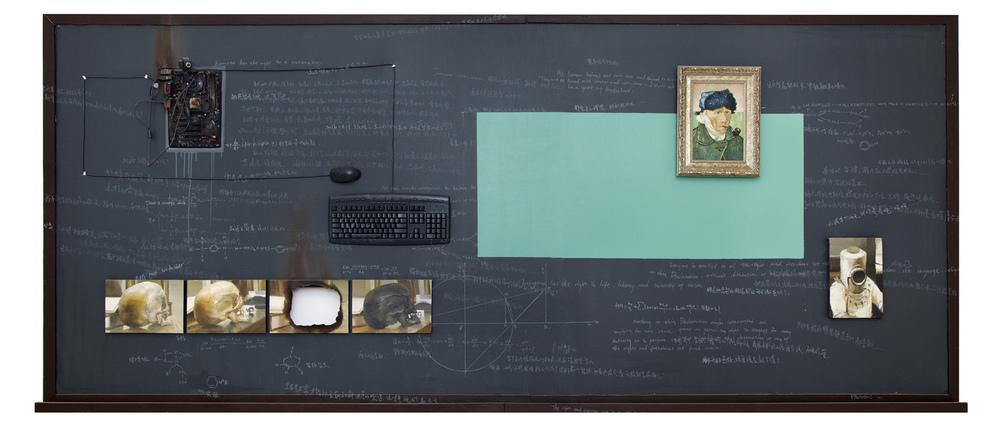 Yan Heng 闫珩, Geometry No.4 - Thinker  几何 4 - 思想者, 2011, Mixed media and oil on canvas 布面油画装置, 150 x 350 cm