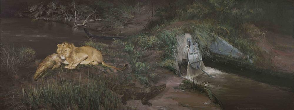 Yan Heng 闫珩, Motel No.2 汽车旅馆 2, 2013-14, Oil on canvas 布面油画, 150 x 400 cm