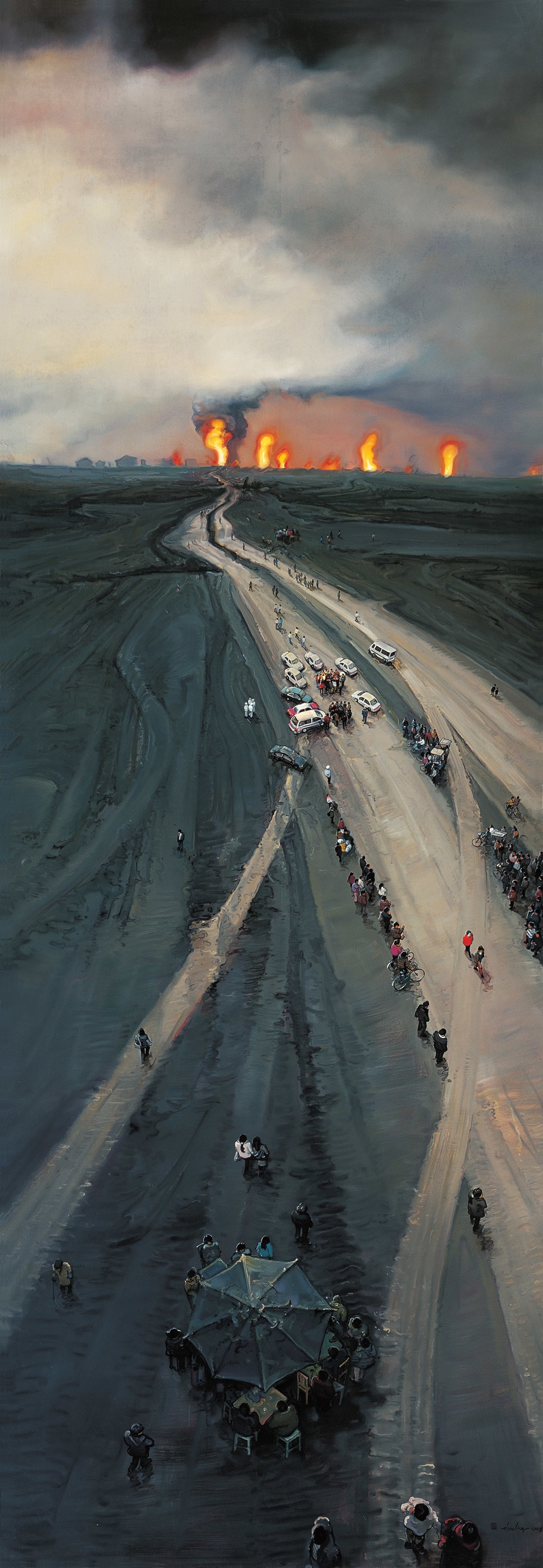 Zhou Jinhua 周金华, Half in the Morning and Half at Dusk 一半是清晨, 一半是黄昏, 2009, Oil on canvas 布面油画, 400 x 140 cm
